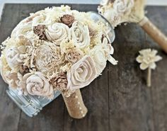 Handmade Wedding Bouquet Tan Bouquet by CuriousFloralCrafts