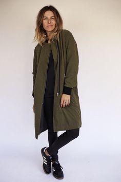 Army green zip coat   ascot + hart