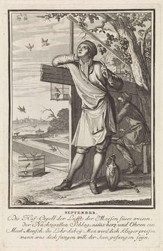 Caspar Luyken   September, Caspar Luyken, 1698 - 1702   De maand september. Op de voorgrond een jongeling die van achter een hek naar vogels in de lucht kijkt. Achter hem een vogelvanger. Links op de achtergrond vogels die in netten verstrikt zijn. De prent heeft een Duits onderschrift van vier regels over de maand september.