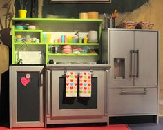INSANE kiddie kitchen made from upcycled old cabinets