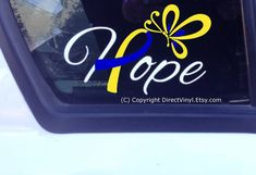 Down Syndrome Hope With Ribbon And Butterfly Window by directvinyl