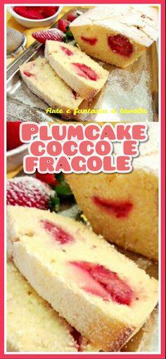 Plumcake cocco e fragole http://blog.giallozafferano.it/arteefantasiaatavola/ #plumcake #cocco #fragole #arteefantasia #italy #giallozafferano #dessert #top