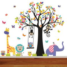 Vinyl Tree Decal Nursery Wall Stickers Colorful by wallartdesign, $150.00