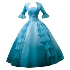 polypics - Gowns ❤ liked on Polyvore featuring dresses, gowns, vestidos, costumes, blue dress, blue evening dresses, blue gown, blue ball gown and blue evening gown
