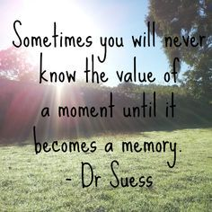 Sometimes you will never know the value of a moment until it becomes a memory.  Dr. Suess Quote