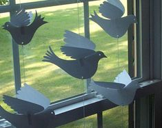 Paper Birds--Customized Curtain of 12 Small White Paper Birds