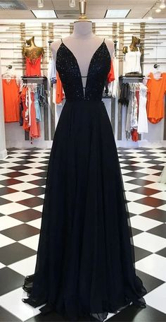 spaghetti straps prom dresses long skirt with sweep train prom gown Navy Wedding Guest Dresses, Sparkly Prom Dresses, Straps Prom Dresses, A Line Prom Dresses, Event Dresses, Dress Prom, Party Dresses, Dance Dresses, Chiffon Dress
