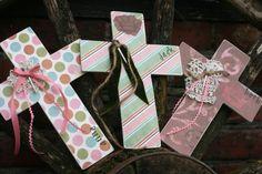 Scrapbook Paper Cross so cute Bible School Crafts, Sunday School Crafts, Bible Crafts, Paper Crafts, Scrapbooking, Scrapbook Paper, Hand Painted Crosses, Bookmark Craft, Christian Crafts