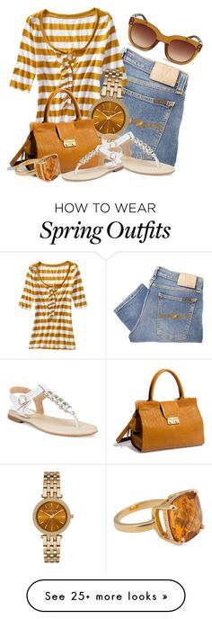 """Jeans and Sandals for Spring (OUTFIT ONLY!) (2)"" by queenrachietemplateaddict on Polyvore featuring Nudie Jeans Co., Old Navy, Michael Kors, Sperry, Rachel Zoe, Steve Madden and Tiffany & Co."