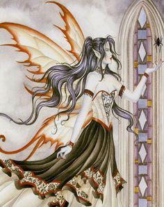 Nene Thomas Arachne II Fairy & Spider Ceramic Tile Art