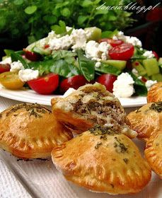 Leśny Zakątek: Pieczone pierogi z pyszną sałatką Pierogi, Camembert Cheese, Potato Salad, Dairy, Potatoes, Chicken, Meat, Ethnic Recipes, Food