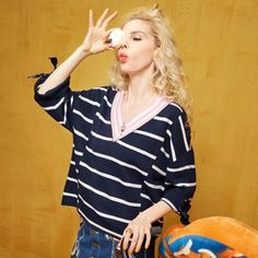 Elf Sack female summer loose thin V-neck striped sweater pullover navy blue block color casual girls hoodies  elfsack