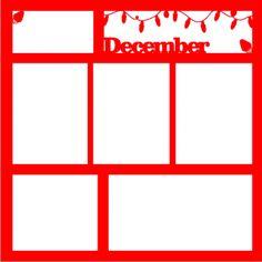 December - 12 x 12 Scrapbook Overlay Laser Die Cut