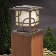 Buy the Kichler Olde Bronze Direct. Shop for the Kichler Olde Bronze Larkin Estates Post Cap Light and save. Deck Post Lights, Outdoor Post Lights, Path Lights, Solar Lights, Patio Lighting, Landscape Lighting, Lighting Design, Lighting Ideas, Deck Posts