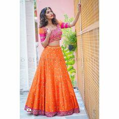 Lehenga Gown, Pink Lehenga, Orange Lehnga, Lehenga Color Combinations, Color Combos, Garba Dress, Navratri Dress, Long Dress Design, Designer Bridal Lehenga