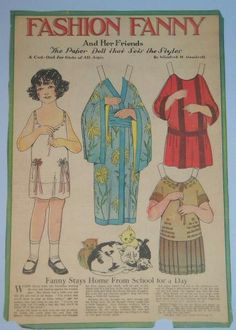 Fashion Fanny paper doll 11-19-22 Fanny stays home from school for a day. From Ebay