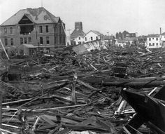 A photograph shows the view looking North from Ursuline Academy in September 1900, after a hurricane hit Galveston, Texas. United States Library of Congress, Public Domain.
