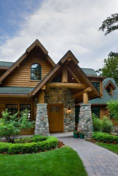 The Best America Home Design In Winter 28 Log Cabin Living, Log Cabin Homes, Log Cabins, Porches, Estilo Colonial, Cabana, Log Home Decorating, Interior Decorating, Michigan