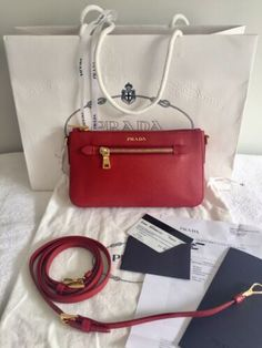 de7723a4a99 Auth PRADA Saffiano Lux Fuoco Red Leather Bag with Receipt, Card, Dustbag.  Rood