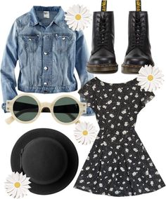 grunge A fashion look from April 2013 featuring daisy dresses, blue jackets and dr martens shoes. Browse and shop related looks. Fashion Mode, Grunge Fashion, 90s Fashion, Trendy Fashion, Fashion Outfits, Style Grunge, Grunge Look, 90s Grunge, Summer Grunge