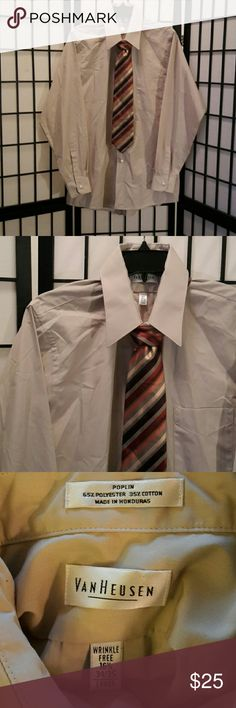 Van Heusen Tan Button Down Dress Shirt w Tie Excellent Condition, Long Sleeve, Tie Included, Perfect for the Office, Thanks for sharing my closet, I will show Posh love by doing the same. Van Heusen Shirts Dress Shirts