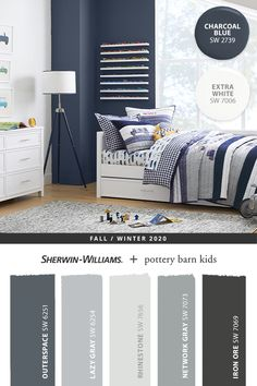 Dark blue hues from Sherwin-Williams, like Charcoal Blue SW 2739, bring energy to accent walls and balance bright décor. Tap the pin to discover more paint colors from the @potterybarnkids Fall/Winter 2020 palette. #sherwinwilliams #DIY #paint #decor #kidsbedroom #bluebedroom #lovemyPBK #potterybarnkids #pbkids #homedecor #painting #colorinspiration #renovation #paint #lovemypbk #pbkids #homedecor #painting #colorinspiration #renovation #bluepaint #graypaint #whitepaint Nursery Paint Colors, Blue Paint Colors, Paint Colors For Home, House Colors, Blue Accent Walls, Dark Blue Walls, Bedroom Colour Palette, Bedroom Colors, Blue Painted Walls