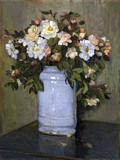 Johannes Evert Hendrik Akkeringa (1861–1942). Wilde roosjes (Wild roses) Bunch Of Flowers, Oil Paintings, Florals, Floral Wreath, Roses, Wreaths, Decor, Amazing Pictures, Art