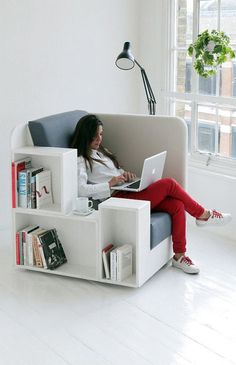 The perfect study chair with built-in bookshelf. #Convenience