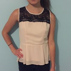 Cream Peplum Top Cream peplum top with black lace on top Forever 21 Tops Blouses