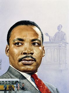 Time magazine portrait of Martin Luther King Jr.      Boris Chaliapin (1904–1979)     Watercolor and pencil on board, 1957, after photograph by Walter Bennett