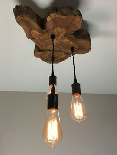Modern Live-Edge Olive wood Light Fixture with 3 lights. Rustic Industrial Chandelier