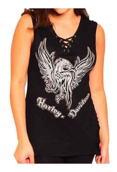 1b5d87b809 Harley-Davidson Women's Glitter Phoenix Patch V-Neck Sleeveless Tank Top,  Black