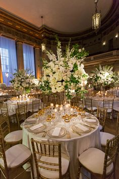 Grand Wedding with Regal Décor and Golden Details in Washington, DC - Inside Weddings White Wedding Decorations, Tall Wedding Centerpieces, Flower Centerpieces, Elegant Wedding, Floral Wedding, Wedding Flowers, Dream Wedding, Wedding Bells, Wedding Dresses