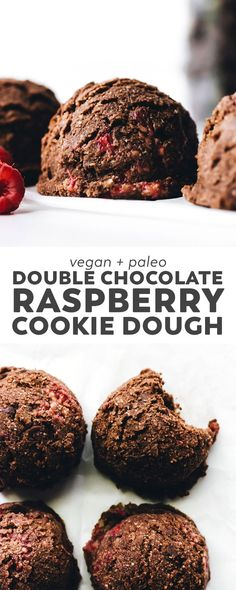 Double Chocolate Raspberry Cookie Dough (vegan + paleo) Cookie dough MADE for eating not baking, with a double dose of chocolate and tangy juicy raspberries. The perfect vegan paleo sweet treat ready in minutes! Vegan Sweets, Healthy Dessert Recipes, Gourmet Recipes, Vegan Recipes, Paleo Dessert, Healthy Treats, Yummy Snacks, Yummy Recipes, Free Recipes