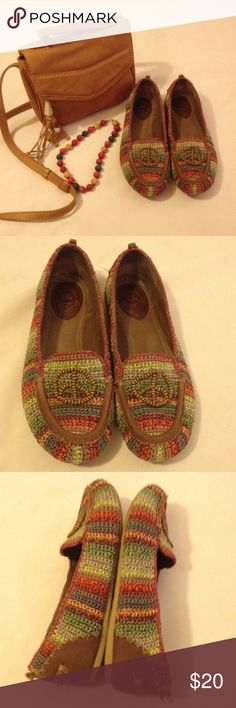 The sak multi colored loafers Nice boho style loafers in good condition. Crochet with beads decor The Sak Shoes Flats & Loafers