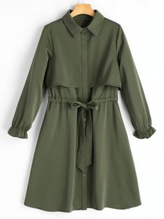 Long Sleeve Belted Button Up Shirt Dress - ARMY GREEN S