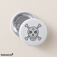 Gray Sugar skull and bones Pinback Button: Skull and Bones logo in Mexican sugar skull art (candy skull). in gray color. the design was inspired from Mexican art and day of the dead (dia de los muertos). #mexican #skull #crossbones #bones #candyskull #diadelosmuertos #dayofthedead #skullandbones #illuminati #piracy #button #pins #buttonpins #gray