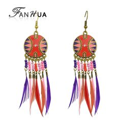 Cheap Beaded Feather Earrings Online //Price: $6.54 & FREE Shipping //     #christmasearrings