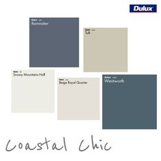 Dulux Coastal Chic Colour Palette is part of painting Walls Colour Palettes - View this published Mood Board and the products used on Style Sourcebook Dulux Paint Colours, Coastal Paint Colors, Coastal Color Palettes, House Color Palettes, Dulux Bedroom Colours, Paint Palettes, House Exterior Color Schemes, Exterior Paint Colors For House, Paint Colors For Home