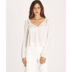 Lovers Lace Top (92 PLN) ❤ liked on Polyvore featuring tops, blouses, white boho blouse, long sleeve peasant blouse, white lace blouse, white crop tops and white crop blouse