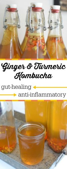 Incorporate the detoxifying, healing, and anti-inflammatory properties of these rhizomes by adding them to a second ferment of your kombucha! In my opinion, turmeric is Nature's Tylenol! This Ginger and Turmeric Kombucha has a lovely flavor, is so simple to make, and possesses delicious healing benefits!