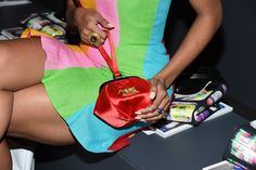 Actress Kat Graham, purse detail, attends Jeremy Scott Spring 2016 during New York Fashion Week: The Shows  at The Arc, Skylight at Moynihan Station on September 14, 2015 in New York City.