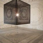 wow! an ornately carved wooden cube that projects beautiful shadows. by anila quayyum agha