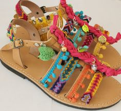 Boho Sandals/Pompom sandlals/Friendship sandals/Rainbow