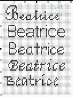 Nomi a punto croce: Beatrice
