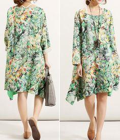 green round collar dress Women linen Oversize large size от MaLieb