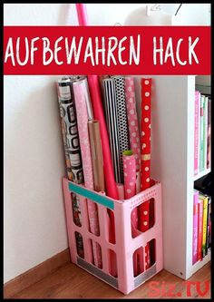 Storing wrapping paper made easy! - workshop ideas - Storing wrapping paper made easy! Storing wrapping paper made easy! The post wrapping paper made ea - Visual Memory, Craft Storage, Home Hacks, Home Organization, Make It Simple, Ikea, Crafty, Home Decor, Paper Craft