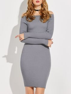 Ribbed Off-The Shoulder Knitted Bodycon Dress