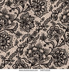 Abstract seamless lace pattern with flowers and butterflies. Infinitely wallpaper, decoration design, lingerie and jewelry. Invitation…