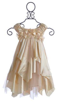 Biscotti Little Girls Holiday Dress Glitter Champagne $86.00